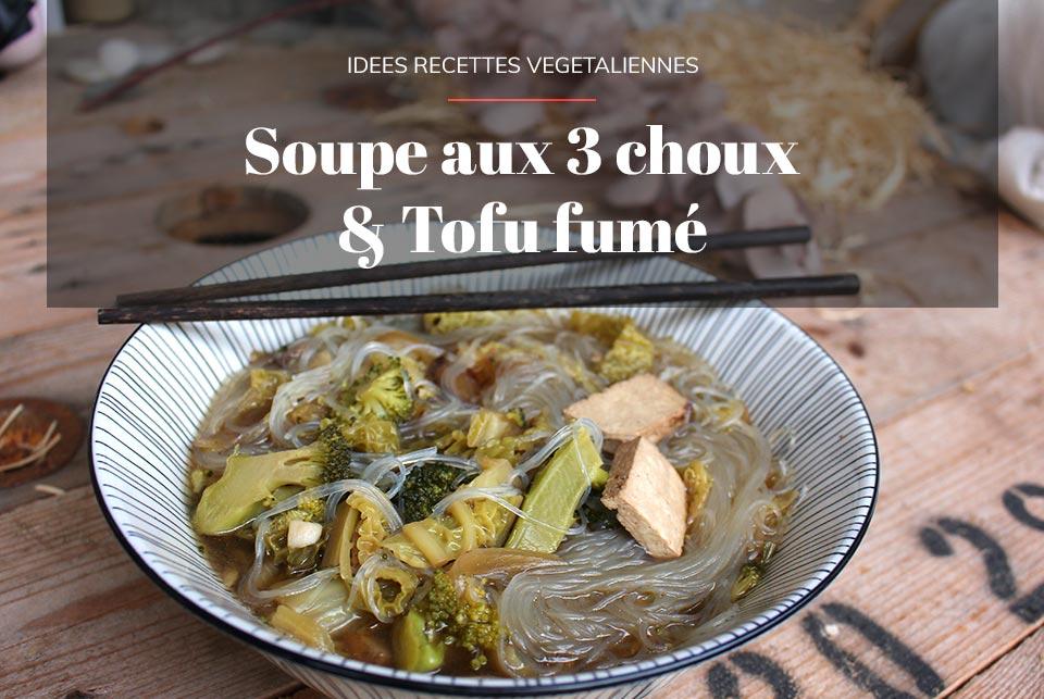 soupe aux choux et tofu fumé par il etait une veggie