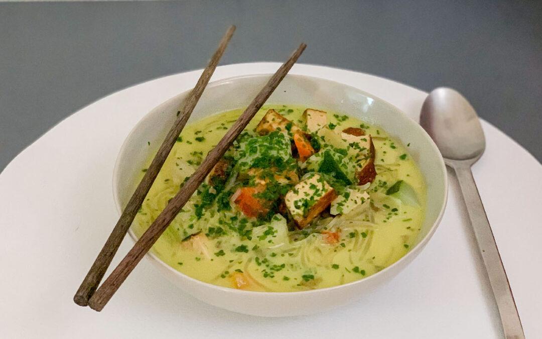 Bouillon de nouilles Konjac & Tofu fumé inspiration Thaï (Vegan)